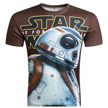 2016 New Camisetas Hombre Novelty Star Wars Men T-Shirts Tshirts 3D Print Tops O-Neck Short Sleeve Male Funny Tees Size M - 4 xl