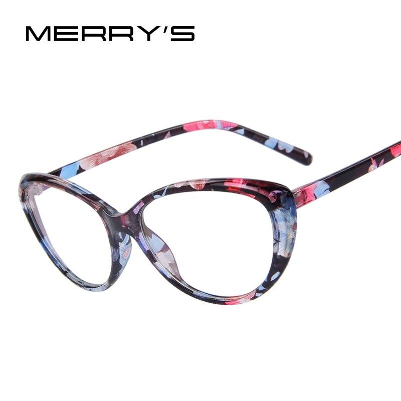 MERRY'S Mode Frauen Katzenauge Gläser Drucken Frame Cat Eye Klare Gläser