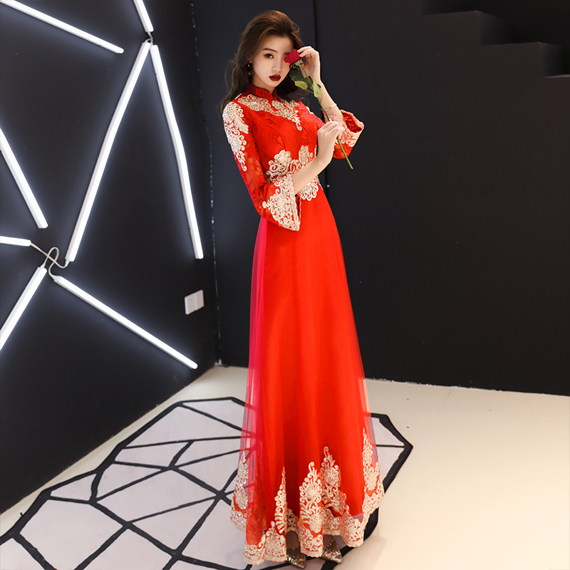 Oversize 3XL Improved O-Neck Women Dress Chinese Classic Lace Embroidery Cheongsam Asian Bride Toast Dresses Elegant Qipao