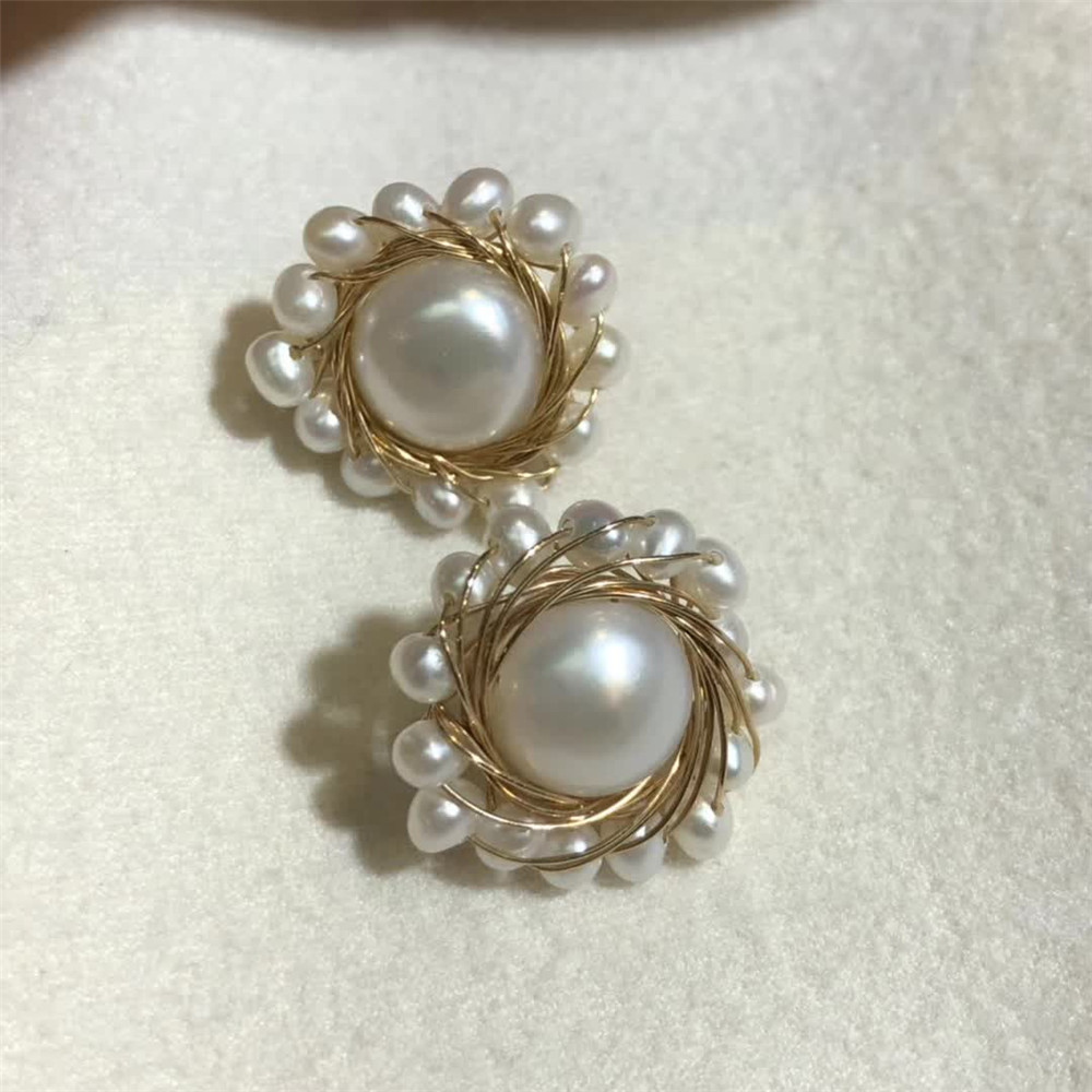 hand made fine jewelry factory wholesale fashionable 14k gold wrap natural white pearl gemstone stud earring 1