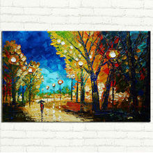 handmade Autumn Park Oil Painting Modern abstract Palette Knife thick textured Landscape art for home wall decoration