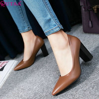 QUTAA 2020 Women Pumps Pu Leather All Match Pointed Toe Women Shoes Fashion Platformslip on Casual Wedding Shoes Size 34 43