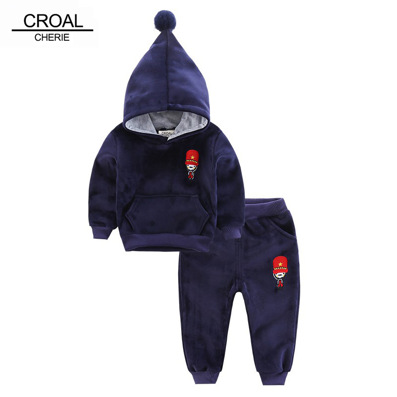 CROAL CHERIE 80-130cm Kids Boys Girls Clothes Sets Autumn Winter Fleece Velvet Sweatshirts+Pants Suits Children Baby Clothing cherie cherie lip balm mint