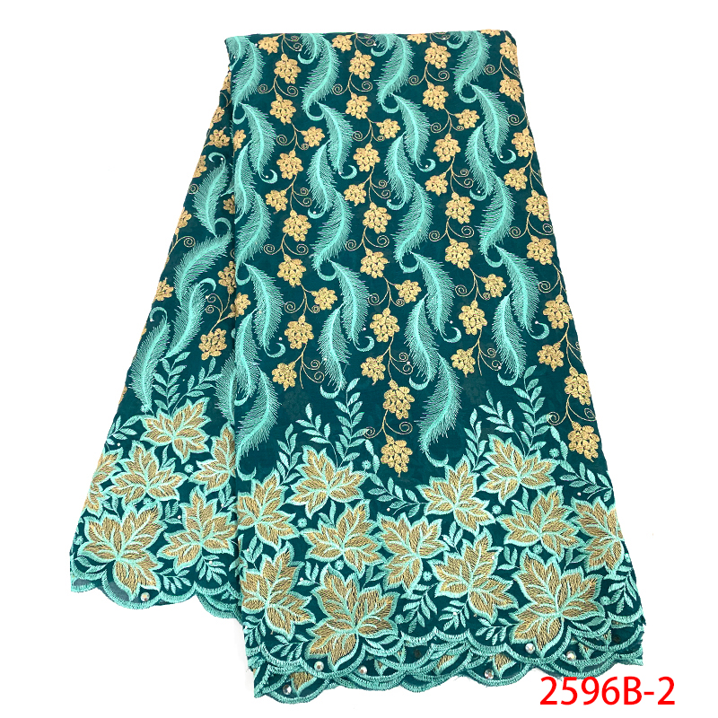 African Fabric Lace Best Selling Swiss Voile Lace In Switzerland Latest High Quality Nigerian Fabrics With Stones KS2596B-2