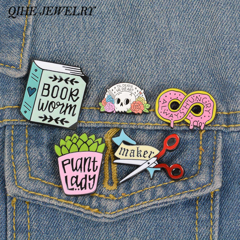 QIHE JEWELRY Plant lady Pin Book worm Enamel pin Maker Lapel pin Artist Brooches Food Lover Badges Plant Mom Jewelry