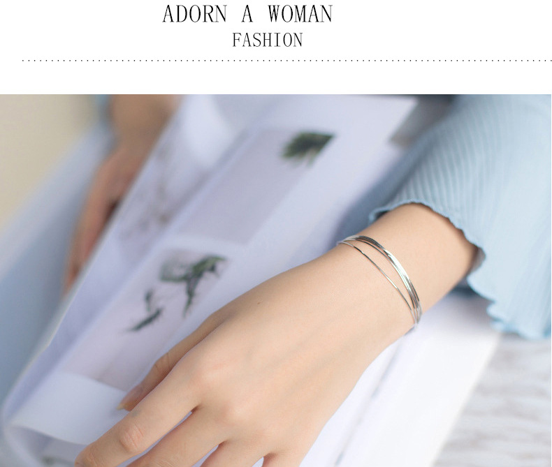 HTB1kwcsizihSKJjy0Feq6zJtpXa7 2018 New Simple Multilayer Tassel Snake chain Bracelet Genuine 100% 925 Sterling Silver jewelry for women chrismas gift