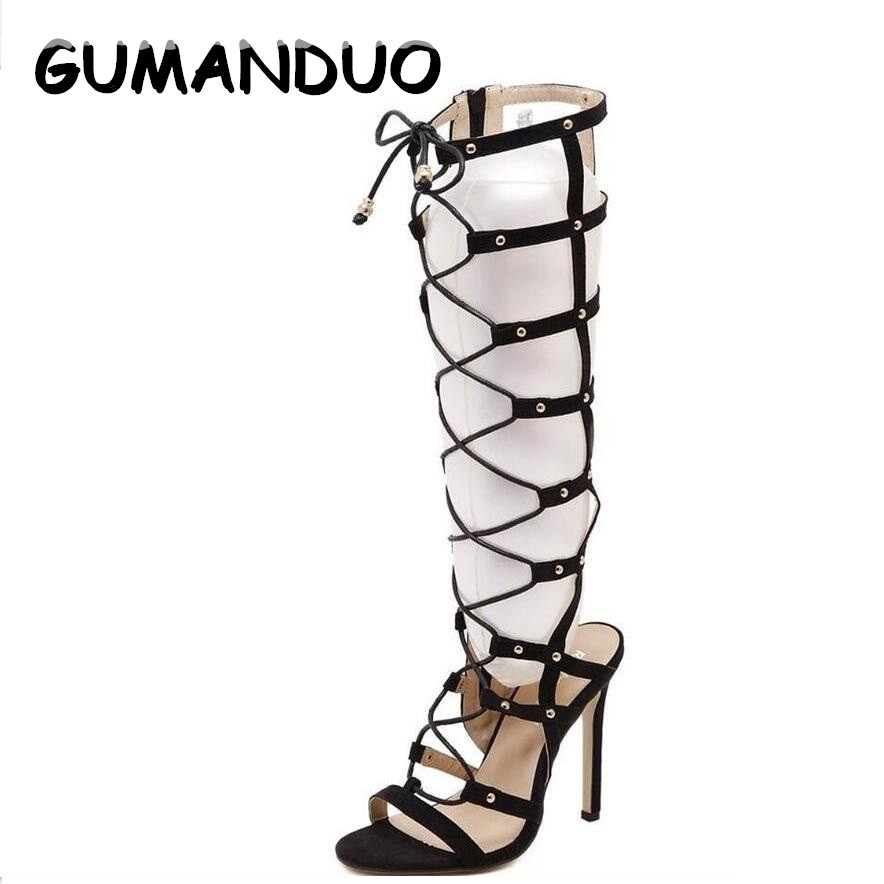 GUMANDUO Alla hjärtans skor Kvinnor Hollow Suede Rivet High Heeled Sandals Cross Straps Knee High Boots Stiletto Gladiator Sandaler