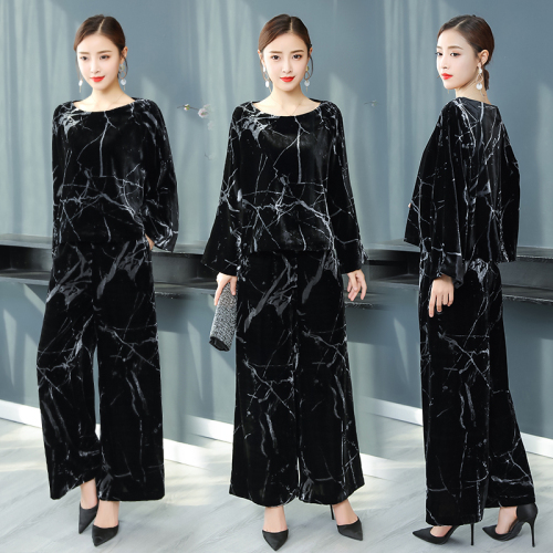 Tenues Ensemble Grande Femmes Deux Pantalon Jambe Noir Velours Féminin Costume Large Pièces Femme Taille Ans wq4IqH
