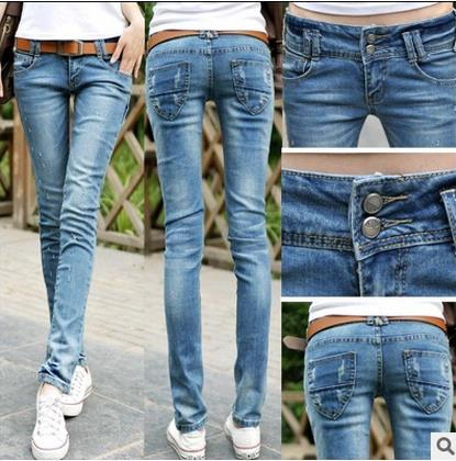 где купить 2017 Fashion Sexy pencil pants slim fit spring jeans woman Low waist skinny trousers lady Jeans plus size Jeans For Women Denim дешево