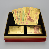Collection souvenir Wholeset Gold Foil Euro Banknote and Euro Playing Card With Gift Box