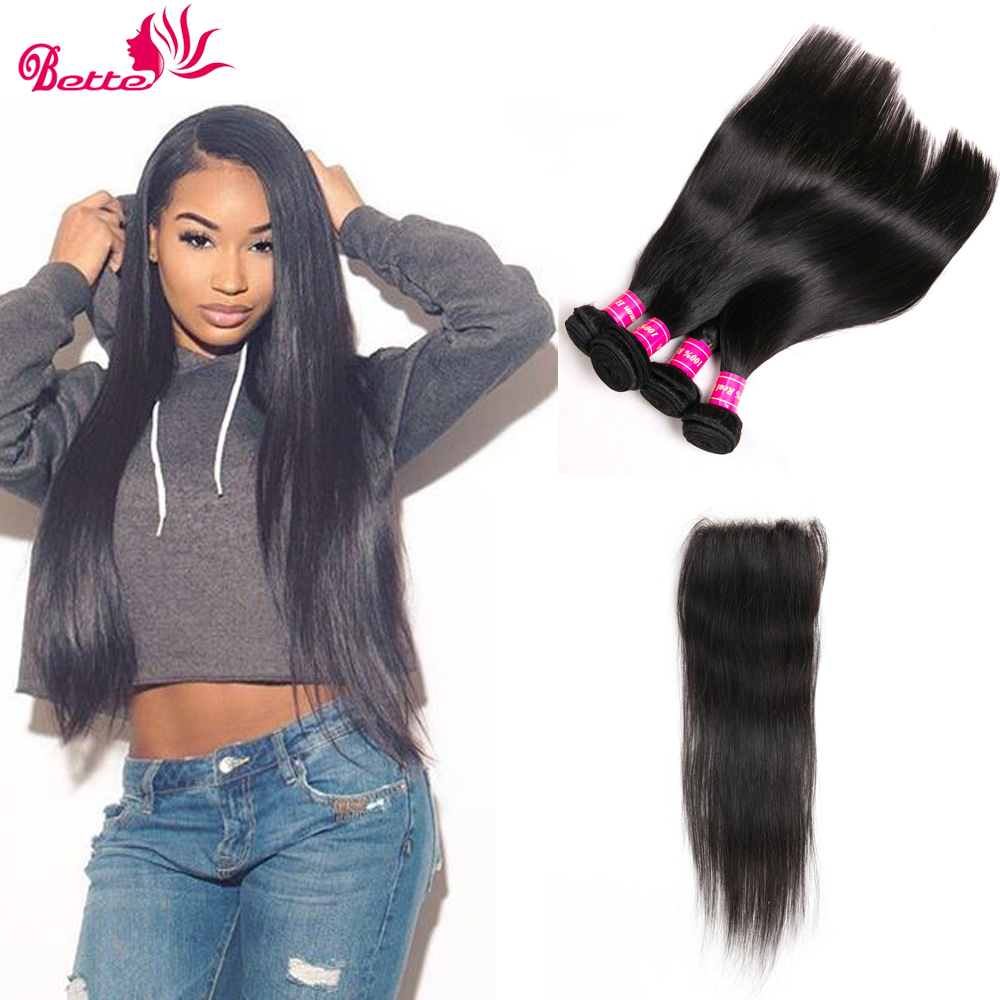 Straight Hair Bundles With Closure Human Hair Indian Straight Hair Weave Bundles With Closure 4 Bundle Deals With Closure