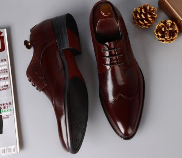 Shoes Couro As 1 Genuíno Vestido Sapatos Lace Casamento De Pic Handmade Apontado 2 Formal Dedo Para as Oxford Novos Cor Homens up Festa 2 OqwnSFYA