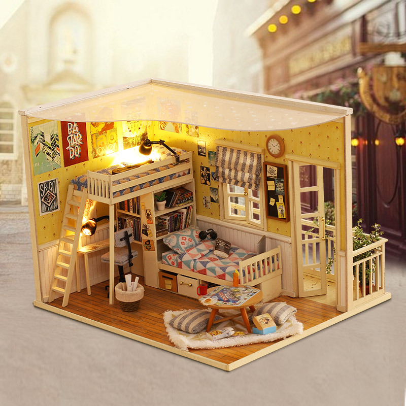 Warm Bedroom DIY Wood Dollhouse Kit Miniature With Furniture Doll House Room Angel Dream Best Birthday Gift For Girls