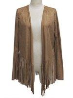 Herbst Reine Farbe Quasten Langarm Mantel Beiläufige Lose Einfache Braun Langarm High Street Jacke