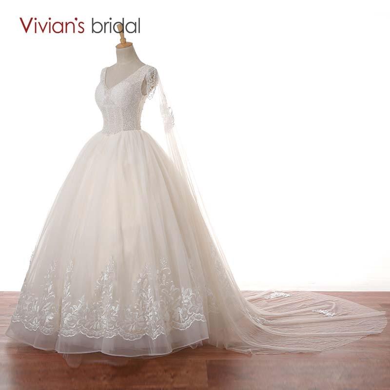 Vivian Wedding Gown: Vivian's Bridal V Neck Cap Sleeve Beaded Lace Ball Gown