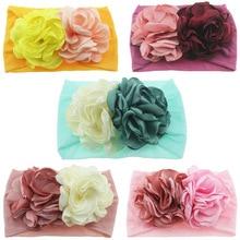 Yundfly Newborn Toddler Baby Girls Head Wrap Double Burning Flowers Knot Turban Headband Hair Accessories Birthday Gifts