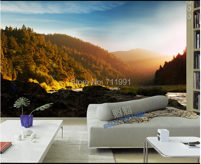 Custom 3D Stereoscopic Natural Scenery Wallpaper For Living Room Corridor Kitchen Bedroom TV Backdrop Waterproof Vinyl