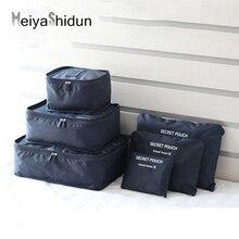 MeiyaShidun 6pcs/1set Nylon Packing Cubes Luggage Travel Bags Durable Large Capacity Unisex Clothing Sorting Pouch Organize Case