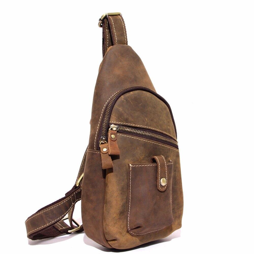 Vintage Style Genuine Leather Mens Vinage Chest Bag Crossbody Shoulder Sling Bag Messenger Handbag For Man Male MS xiongbao4