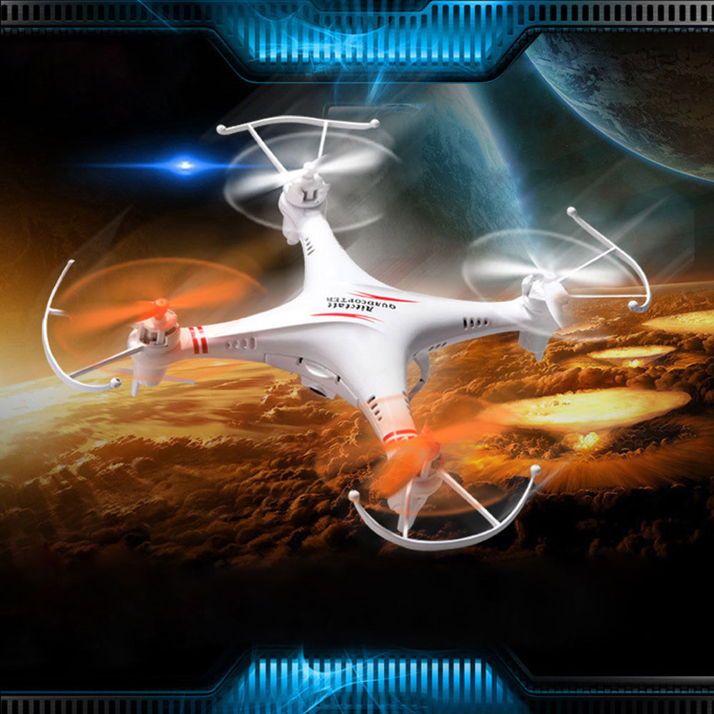 Mini 4 Channel 6-Axis Gyro 2.4GHz LED Light RC Drone Quadcopter Helicopter Toy with 0.3MP Camera White