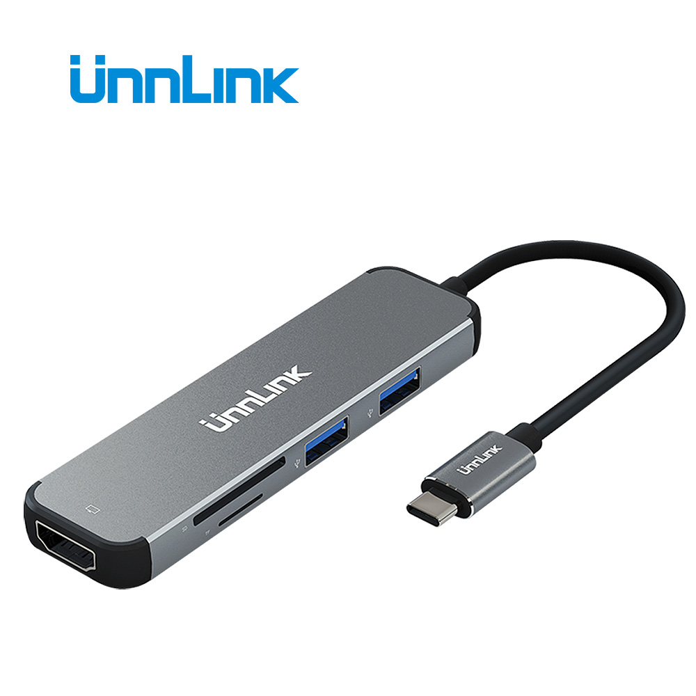 Unnlin USB C Dock Type C to HDMI USB 3.0 Micro SD Card Reader Thunderbolt 3 Docking for MacBook pro huawei p20 mate10 ultrabook new portable mini design charming 3 in 1 card reader usb type c micro usb 3 0 tf sd card reader support type c otg card reader