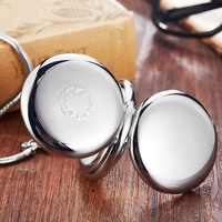 Silver Luminous Copper Mechanical Pocket Watch Men Women Vintage Double Sided Engraved Fob Chain Sculpture Retro Pocket Watches