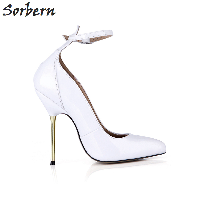 Sorbern White Heels Pointe Toe Vintage Ladies Shoes Prom Shoes Sexy Heels Ankle Straps Custom Fashion Shoes 2018 Luxury Women - 5