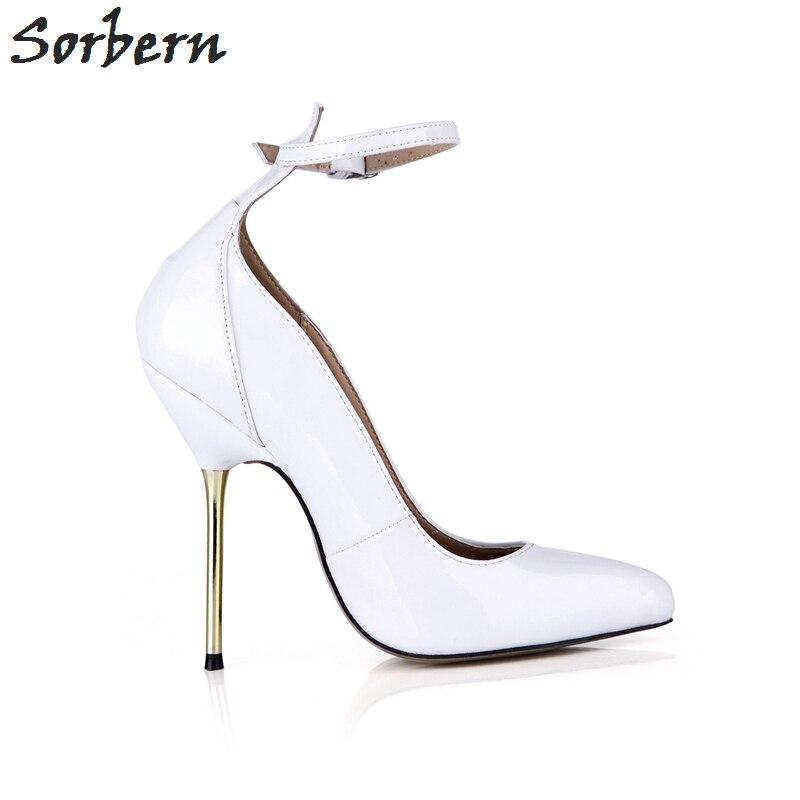 Sorbern tacones blancos Punta de puntera Vintage zapatos de mujer zapatos de baile tacones sexis correas de tobillo zapatos de moda personalizados 2018 de lujo para mujer - 5