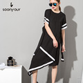 [Soonyour] 2017 caliente nueva irregular dress mujeres de manga corta de color sólido blanco negro largo moda 4lh0721