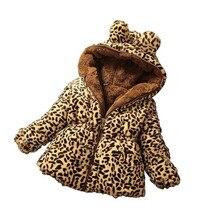 Engrossar inverno à prova de vento quente bebê meninas casaco de lã leopardo impressão crianças outerwear para 70 130cm