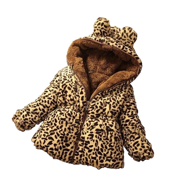 Thicken Winter Windproof Warm Baby Girls Woolen   Coat   Leopard Print Children Outerwear For 70-130cm