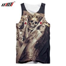 UJWI brand 2019 new skull men's waistcoat 3D printing O-ring sleeveless vest bodybuilding clothes fashion casual Tank Tops(China)
