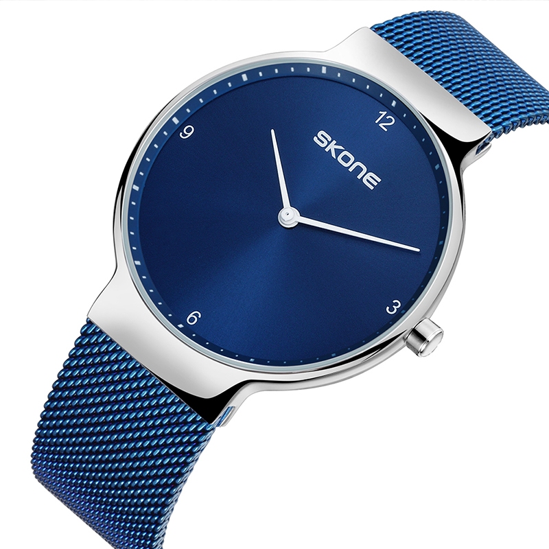 SKONE Super Thin Luxury Brand Men's Watch Casual Male Quartz Watch Mesh Steel Waterproof Slim Clock Wristwatch relogio masculino odeon light bula 2904 1