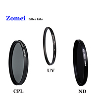 Professional Zomei 55mm UV CPL ND Filter Kita with 3 Pics Lens Filtro Protector Lenses for Canon Sony Nikon etc Camera Lens