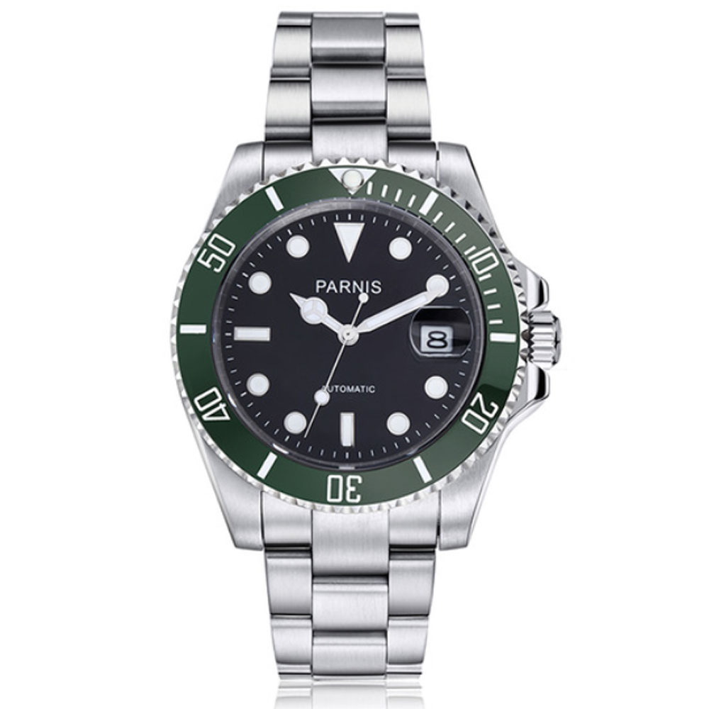 40mm Parnis Black Dial Super Luminous Marks Sapphire Glass SS Top Luxury Brand Date Deployment Automatic Movement men's Watch 40mm parnis green dial sapphire glass ss case luminous marks gmt date deployment bucket automatic mechanical men s wristwatches