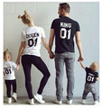 New Cotton Family Matching T Shirt King 01 Queen 01 Prince Princess Letter Print Shirts,casual Men/women Lovers Tops Newborn
