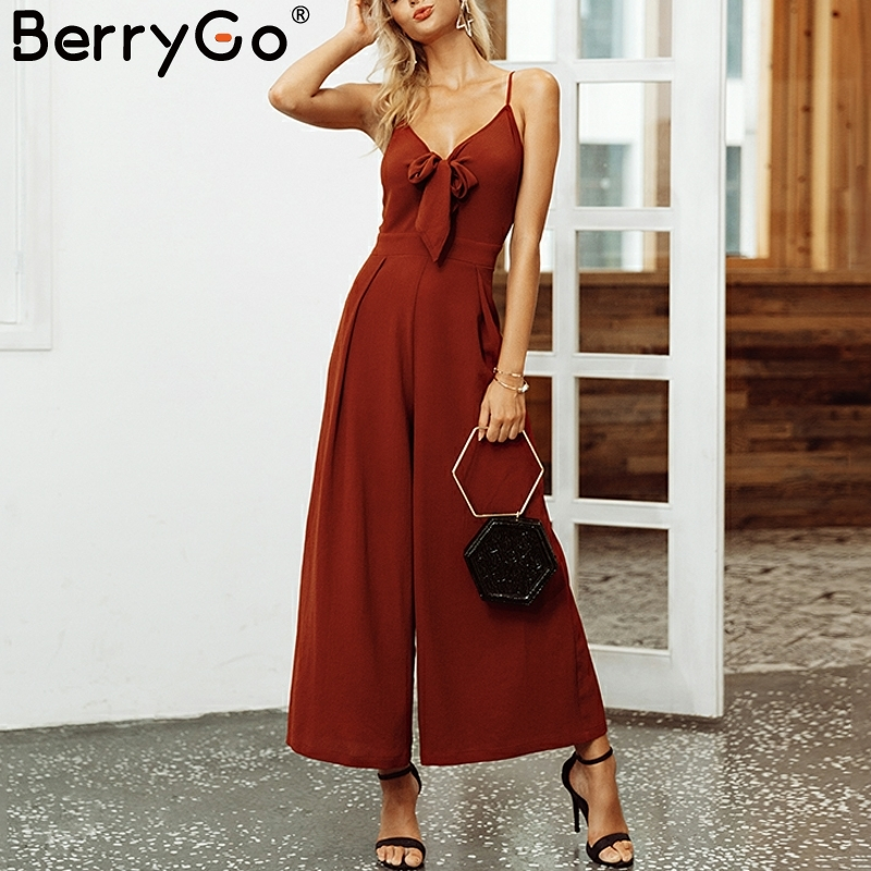BerryGo Bow tie adjustable women   jumpsuit   Elegant solid spring 2019 long   jumpsuit   Chic wide leg casual streetwear sexy   jumpsuit