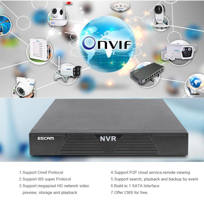 ESCAM MINI NVR K616 16CH 1080P HDMI Network Video Recorder H.264 HDMI/VGA Video Output Onvif P2P Cloud service EU US AU Plug 4ch 8ch 16ch full hd nvr network security surveillance video recorder xmeye h 264 p2p onvif 1080p nvr with hdmi and vga output