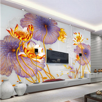 Beibehang Home And Wealthy Lotus Nine Fish Picture Murals TV Wall Background Custom Large Painting Green