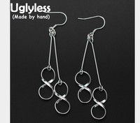 Uglyless Real S 925 Sterling Silver Lucky Number 8 Dangle Earrings Exotic Women Party Dress Fine Jewelry Handmade Holloe Brincos