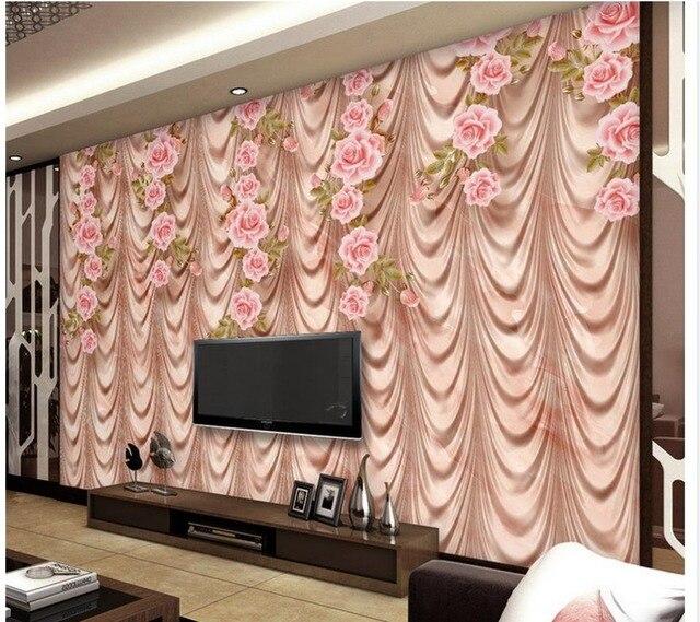 3d behang voor kamer Marmer rose art TV gordijn muur met gordijnen ...