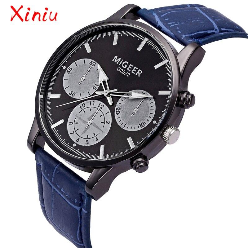 Watches Men Wrist 2018 Horloges Mannen Watch Men Pu Leather Analog Quartz Luxury Wristwatch Fashion Business Drop Shipping