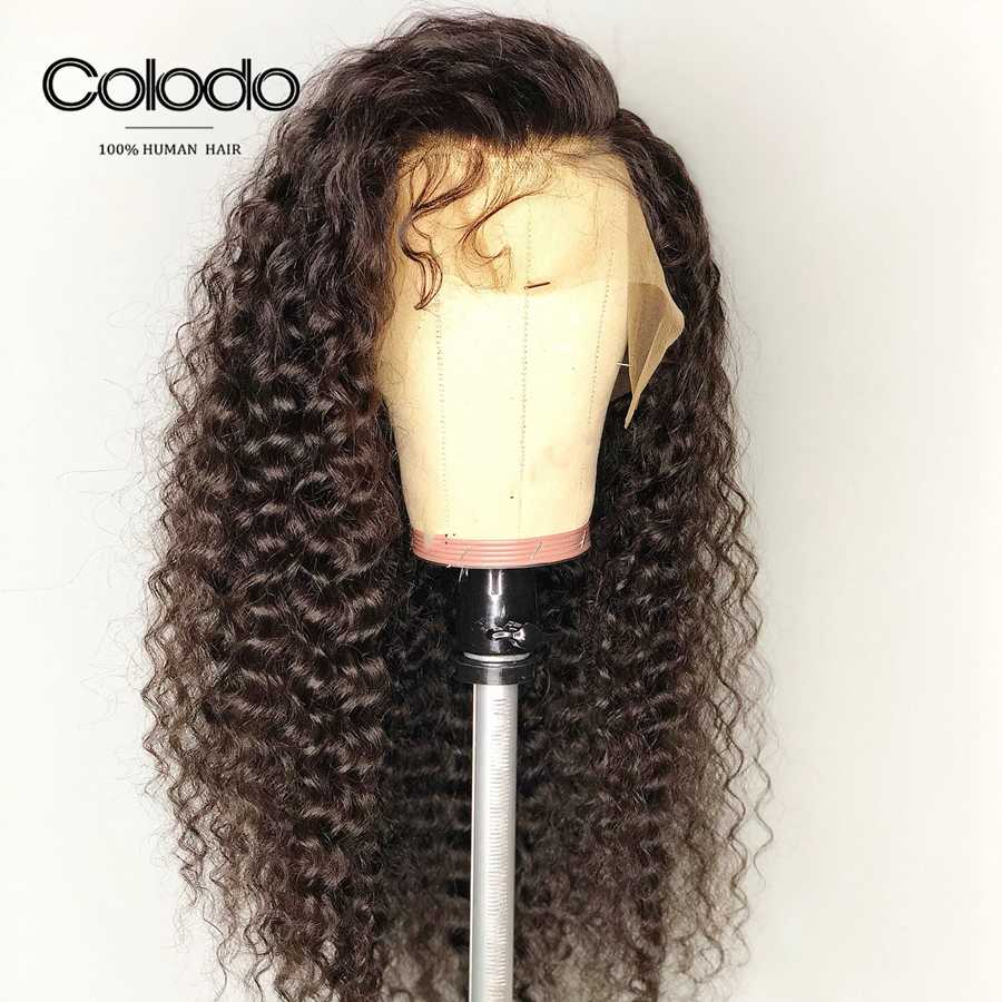 Colodo Curly Human Hair Wig With Baby Hair Pre Plucked Brazilian Lace Front Wigs For Women Natural Color Long Remy Hair Pink Wig
