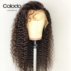 Colodo Human-Hair-Wig Pink Wig Brazilian Lace-Front Curly with Pre-Plucked Wigs for Women