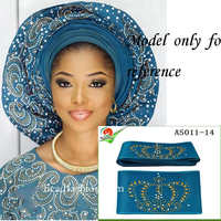 Unique Aso Oke With Stones Headtie One Piece Per Pack African SEGO Gele Wrapper Scarf 6