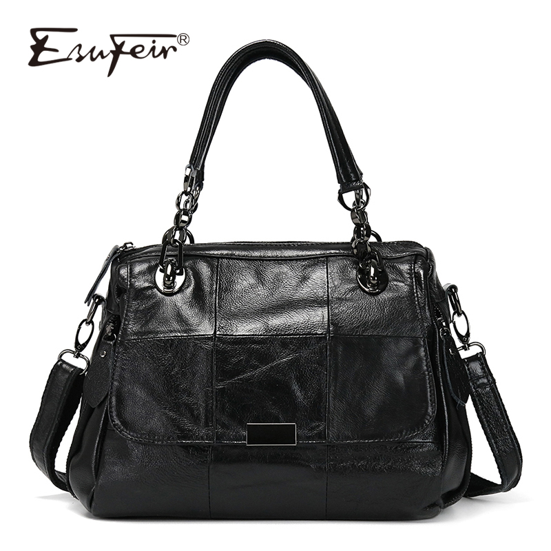 ESUFEIR Luxury Women Handbag Patchwork Genuine Leather Bags for Women Shoulder Messenger Bag Ladies Crossbody Bag Designer Tote esufeir genuine leather handbag for women fashion brand designer shoulder bags cow leather crossbody bag ladies trapeze tote bag