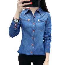 2019 New spring Autumn women cotton pocket Turn-down Collar long sleeve blouse blue Denim shirt casual tops girls plaid blouse 2019 spring autumn turn down collar teenager shirts cotton shirts casual clothes child kids long sleeve 4 13t