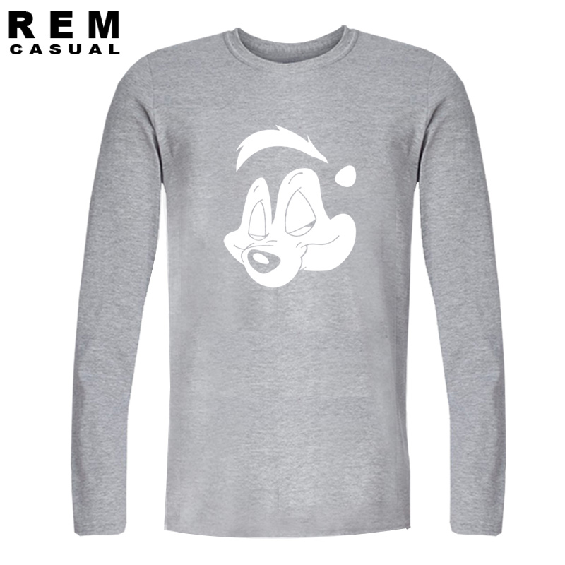 Men fashion Pepe Le Pew Guns n Roses Long sleeve T Shirt 2016 plus size hip-hop Metal Rock Punk clothing harajuku fitness