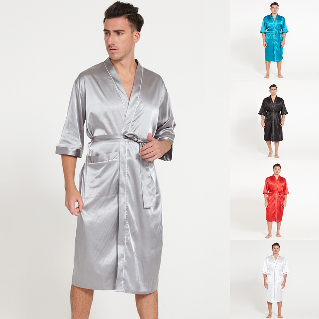 Hawcoar Summer Fashion Sling Pocket Simulation Silk Long Section Sleeves Home Service Thin Men's Pajamas пижама мужская Z4
