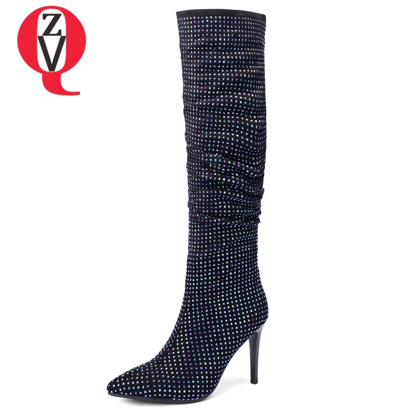 ZVQ 2018 new super high thin heels pointed toe crystal decoration winter zip knee high boots fashion elegant party women shoes цена 2017